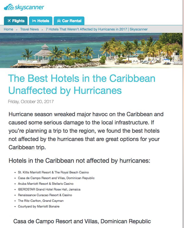 The Best Hotels in the Caribbean Unaffected by Hurricanes<br>SKY SCANNER