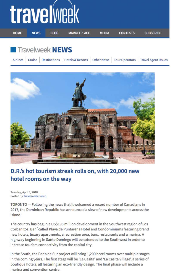 DR's hot tourism streak rolls on<br>TRAVELWEEK