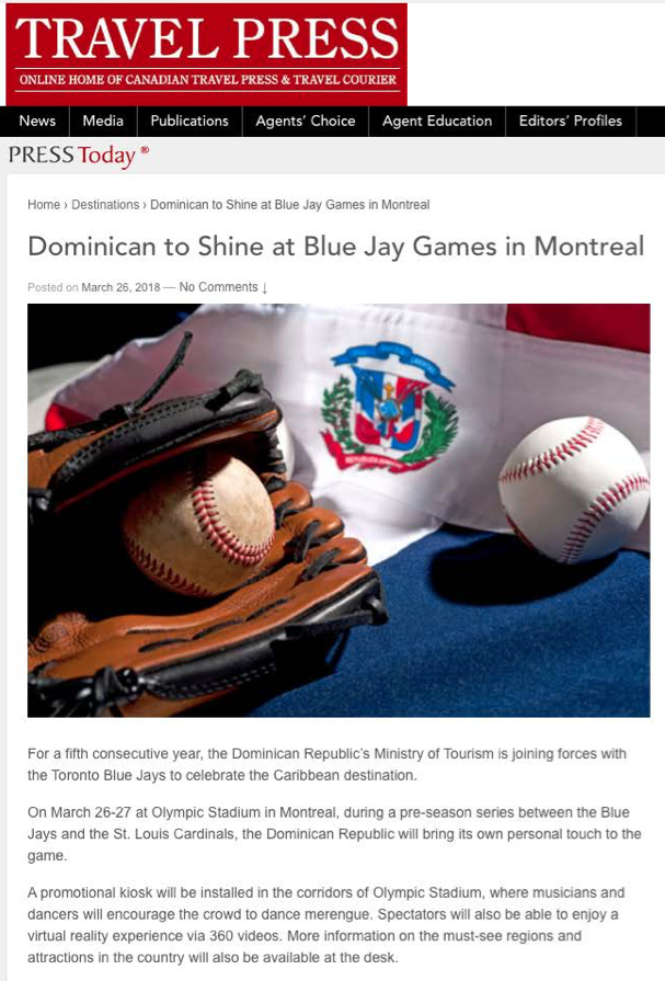 Dominican to Shine at Blue Jays Game<br>TRAVEL PRESS