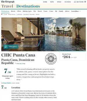 CHIC Punta Cana<BR>THE TELEGRAPH