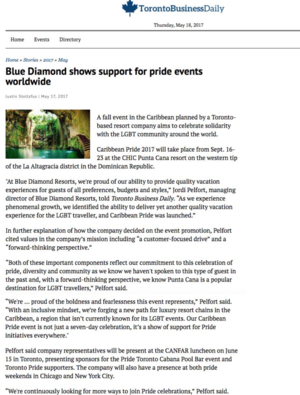 Blue Diamond shows support for pride events<br>TORONTO BUSINESS DAILY
