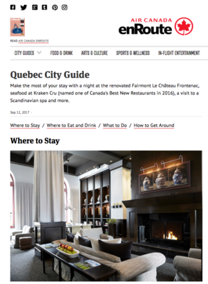 Quebec City Guide<br>AIR CANADA ENROUTE
