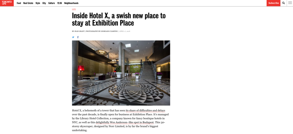 Inside Hotel X, a swish new place to stay at Exhibition Place<br>TORONTO LIFE