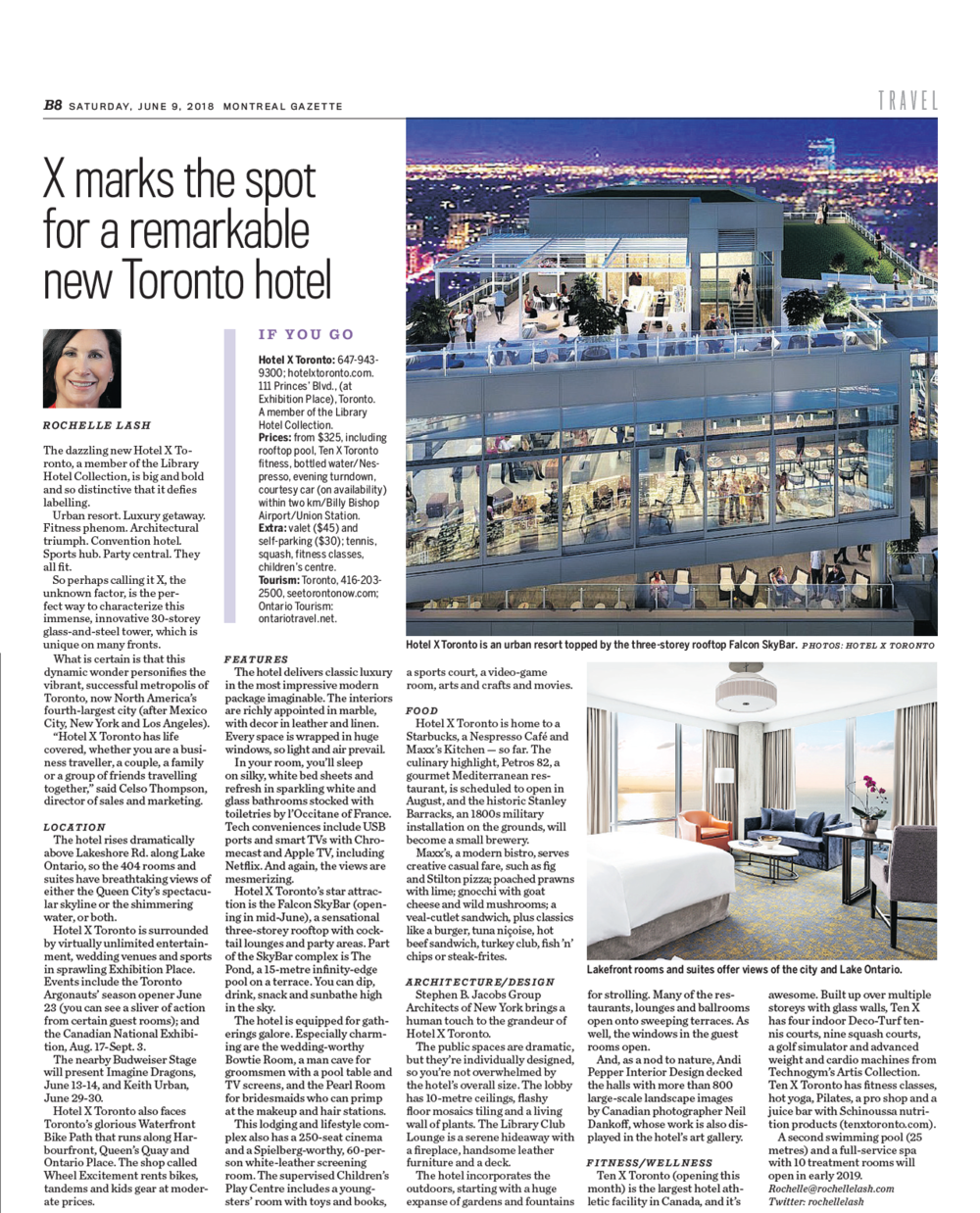 X marks the spot for a remarkable new Toronto hotel<br>MONTREAL GAZETTE
