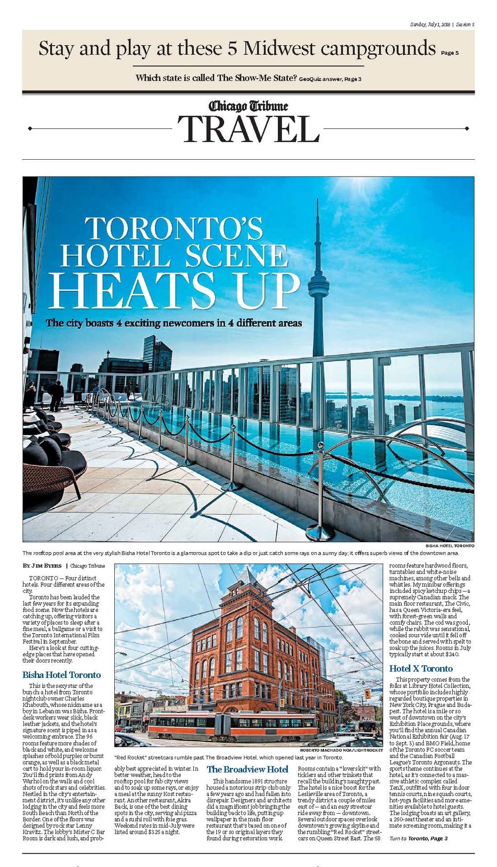 Toronto's Hotel Scene Heats Up<br>CHICAGO TRIBUNE