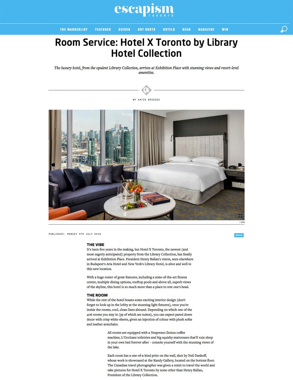 Room Service: Hotel X Toronto by Library Hotel Collection<br>ESCAPISM TORONTO
