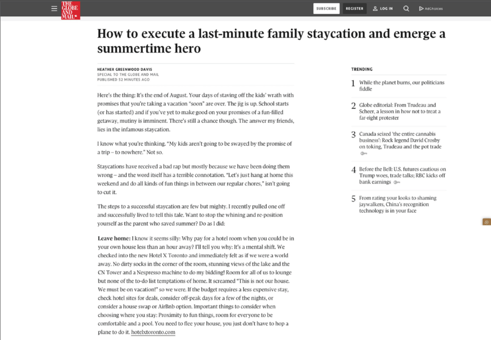 How to execute a last-minute family staycation and emerge a summertime hero<br>THE GLOBE AND MAIL