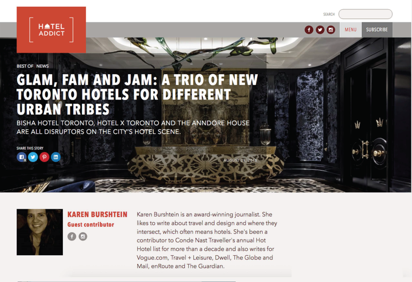 Glam, Fam and Jam: A Trio of New Toronto Hotels For Different Urban Tribes<br>HOTEL ADDICT