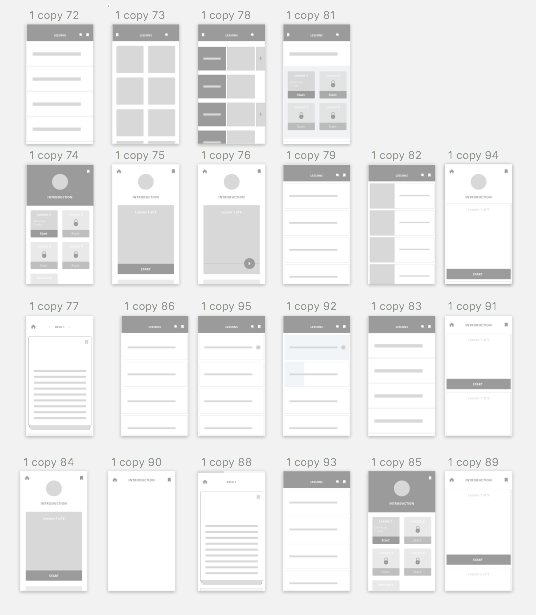 Initial iterations and explorations through wireframing