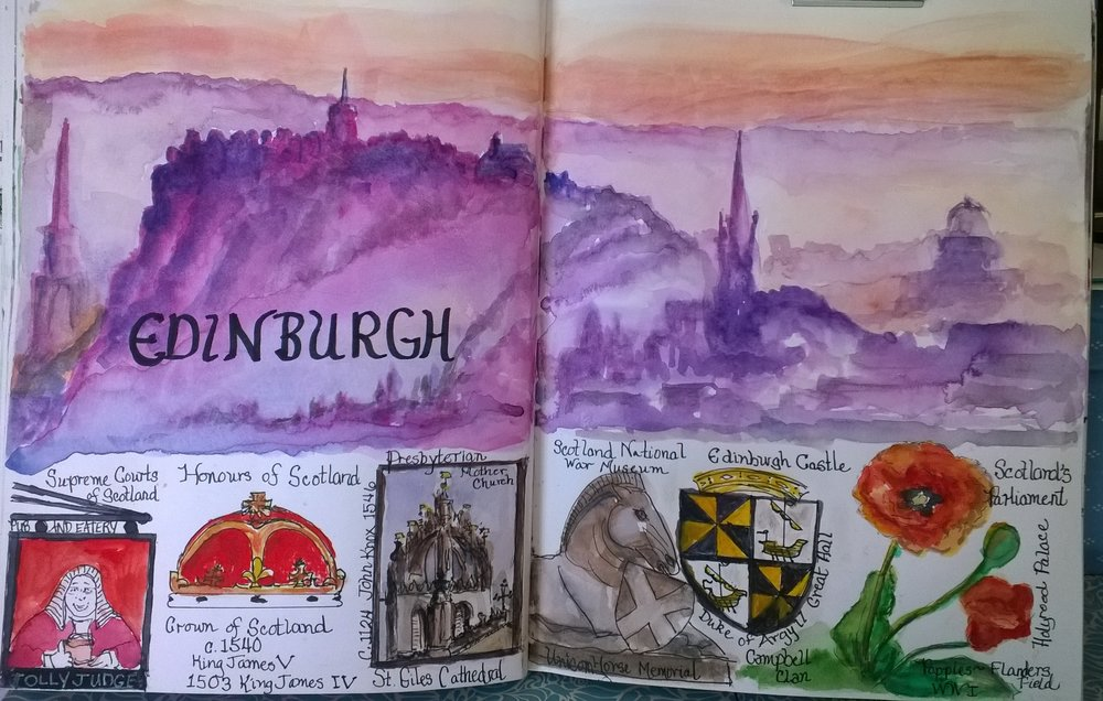 This view of Edinburgh is attributed to photographer, Colin Baxter.  I love how it shows the great volcanic rock that Edinburgh Castle was built on.  Stone walls have been unearthed at this sight dating back to the Bronze Age 3,000-5,000 years ago!  A lithograph of a view from the ramparts of the castle has hung in our home since we were first married.  Visiting the Castle was like walking back in time into that lithograph from 1837.   Below the view of Edinburgh, I painted little symbols of other great remembrances of our 3 days in Edinburgh:  (l.-r.) 1.  A street sign near the Supreme Courts of Scotland for a pub on the Royal Mile; 2. The Crown of Scotland, C. 1540 from seeing the Honours of Scotland at Edinburgh Castle; 3.  The great dome of St. Giles Cathedral, where John Knox preached and the mother church of Presbyterians; 4. A statue of a reclining horse in from of the Scotland National War Museum at the Castle with the shield of Scotland, which, in my interpretation, pays tribute to all of the brave horses that gave their lives in the protection of Scotland; 5.  A stain glass window of the Duke of Argyll's Coat of Arms in the Great Hall at the Castle representing the contributions of the Campbell Clan to Scotland; and, 6.  A red poppy growing near Scotland's Parliament Building in memory of those who lost their lives at Flanders Fields in WWI, and all others who have given their lives for their country.