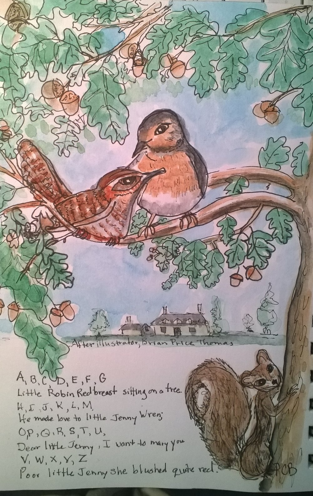 A little study I painted in my sketchbook of a piece by illustrator Brian Price Thomas, from the book  My Honey Bear's Book of Rhymes.
