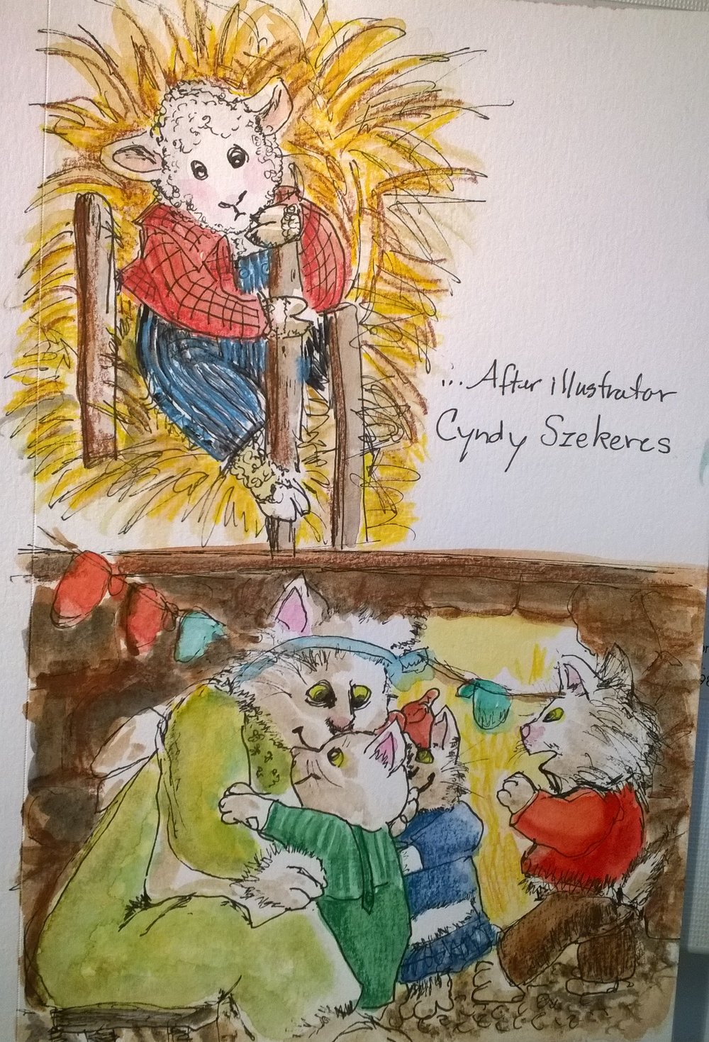 """This is my practice (study) of illustrations by Cyndy Zekeres, from the book, """"AChild's First Book Of Nusery Rhymes"""" selected and adapted by Selma G. Lanes, C. 1983.  I love her illustration style which is similar to my sketchbooking style with pen, ink, and watercolor, but she also adds colored pencil. These little sketches were a fun way to explore her style and to inspire my own illustration goals."""