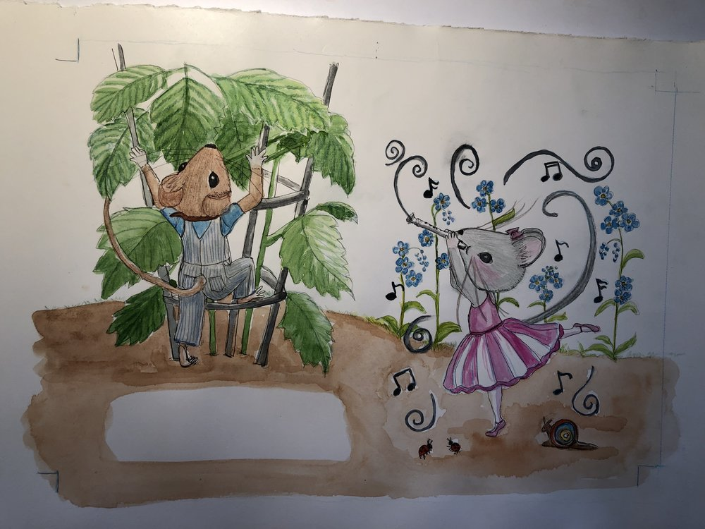 I'm moving along with the illustration of my first author/illustrator book, one that I finished before Christmas, and after Christmas! Each image represents 2 pages of the book and this is my coprighted work, so please do not copy and repost without permission. Using watercolor, colored pencil and micron pen (ink). Morley ( after my father, and a good Scottish name) and Pinkney are so much fun to paint!