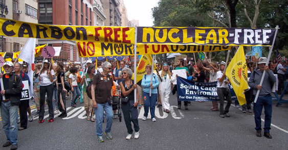 The Nuclear-Free, Carbon-Free Contingent at the historic People's Climate March in New York City September 21, 2014.