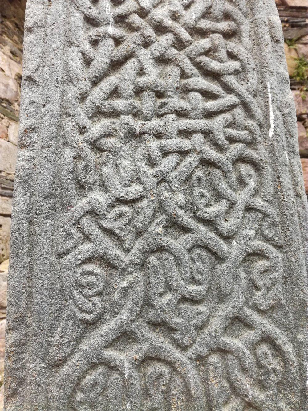 Celtic engraved stone slab, Argyll -  Tour & Walk in small groups - Roaming Scotland.jpg