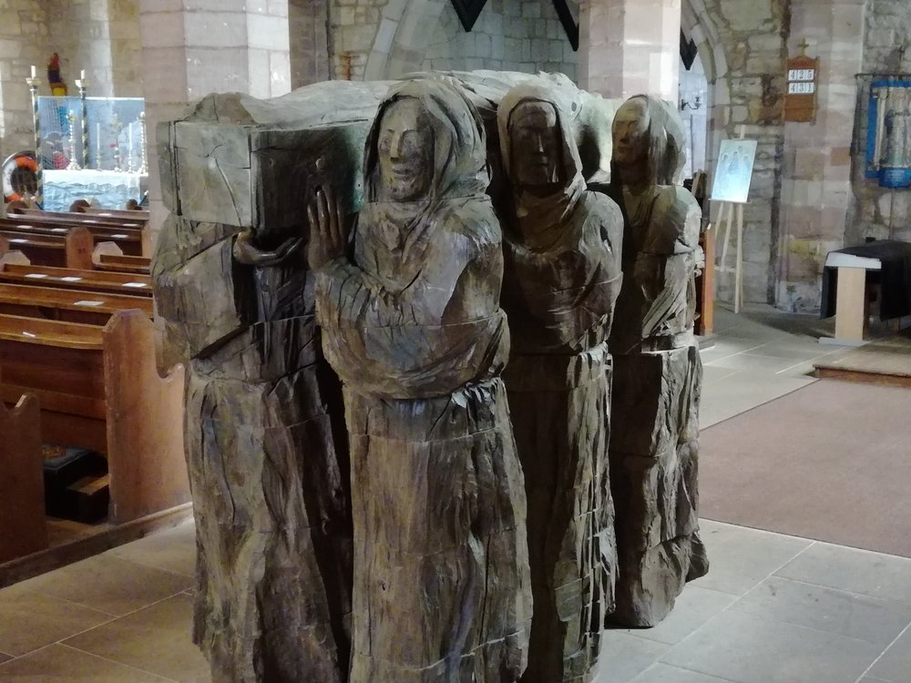 Carrying St Cuthbert's coffin, Celtic Christian Retreat, Scottish tours with walks, small group adventures, Roaming Scotland.jpg