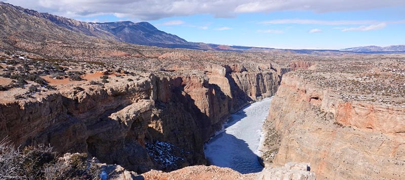 The Devil's Canyon Overlook and frozen Bighorn River in the Bighorn Canyon National Recreation Area-Dryhead Area of the Pryor Wild Horse Range