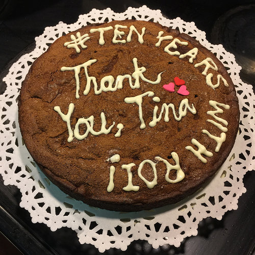 Umme made a gluten-free brownie cake for Tina's achievement festivities.