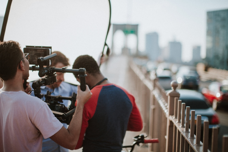 Filming on the Brooklyn Bridge