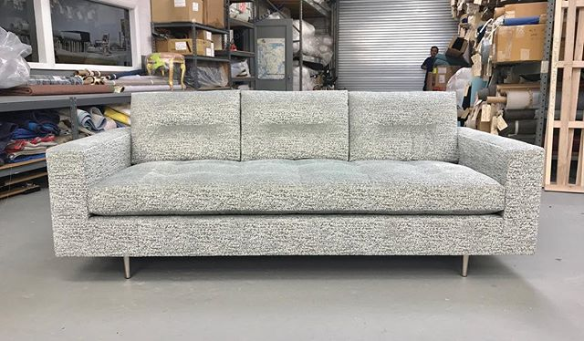 Custom version of our Milo sofa with wider arms on shorter metal legs. What is most distinctive about it is the new horizontal pull detail on both sides of the back cushions instead of our standard grid detail. #handcrafted #interiordesign #interiordecor #interiordesigner #homedecor #interiordecorating