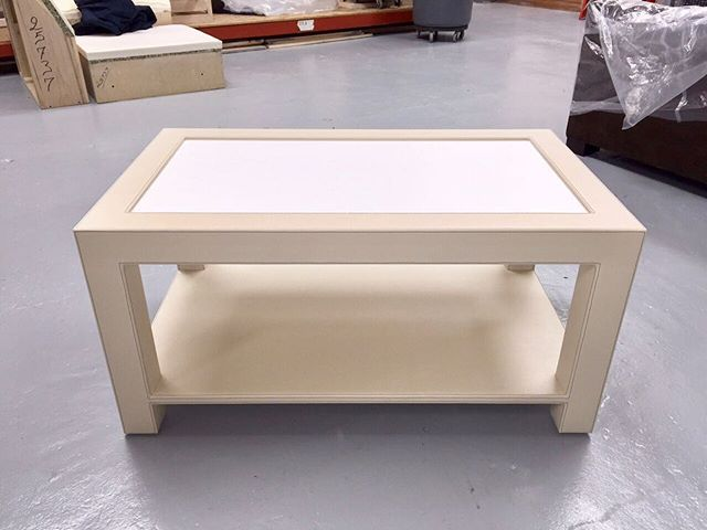 Custom coffee table upholstered in leather with inset Corian top. The contrast thread saddle stitching gives the table an added dimension. #handcrafted #interiordesign #interiordecor #interiordesigner #homedecor #decor #interiordecorating
