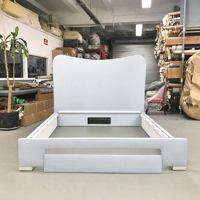 Custom Royere inspired king size bed built to conceal UBTV Lift mechanism. The cutout at the center bottom of the headboard is for access to the a/v wiring coming out from the wall behind the headboard to the mechanism. Inside and out the bed is finished flawlessly and no detail left to chance. #handcrafted #interiordesign #interiordecor #interiordesigner #decor #homedecor #luxury #chic #stylishinteriors #luxuryinteriors