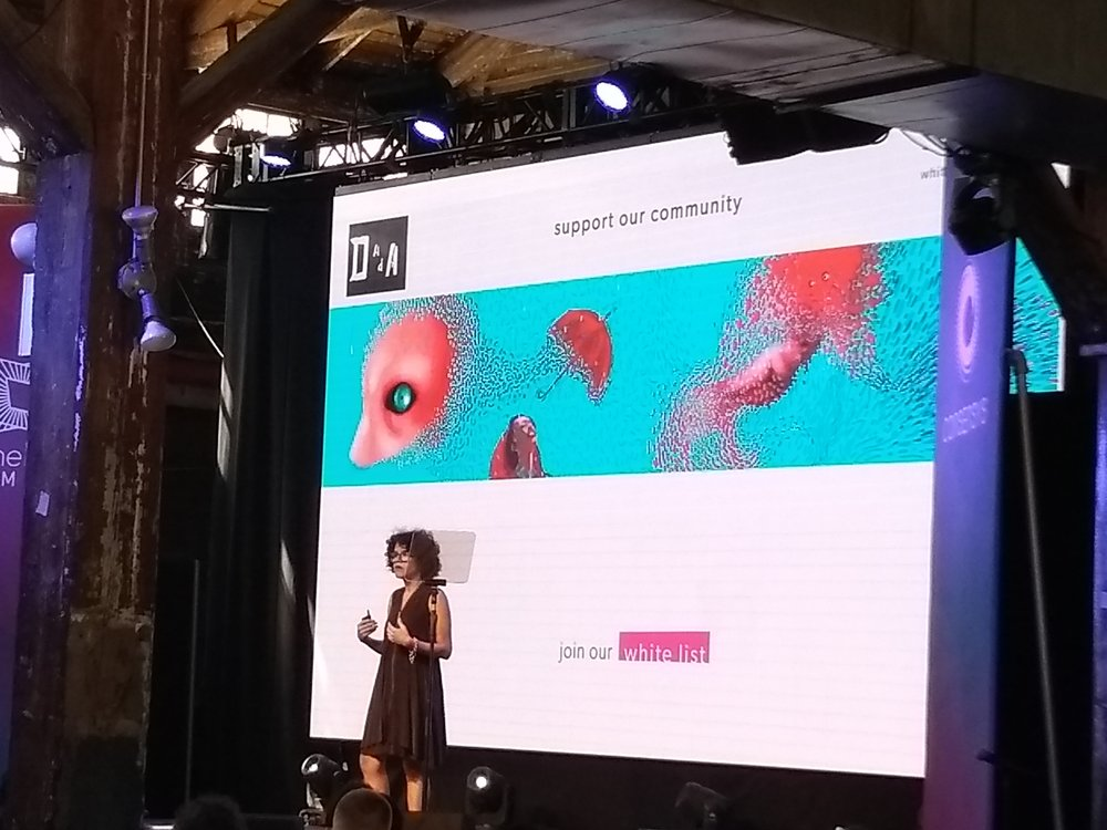 After an introduction from the Ethereal team and from Aya Miyaguchi - director of Ethereum foundation - Beatriz Ramos spoke about why she founded Dada NYC.