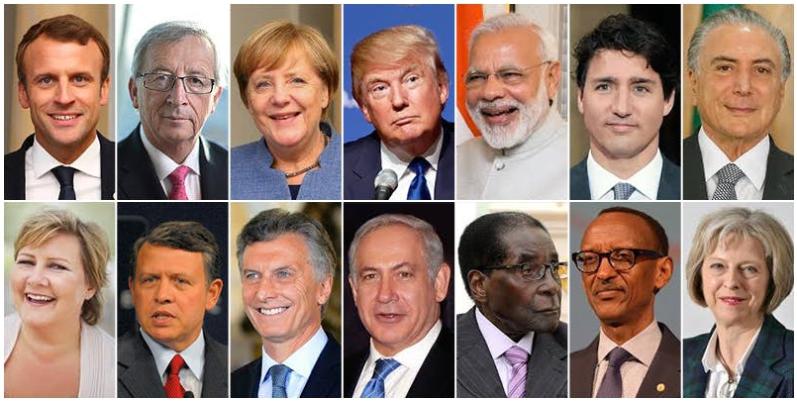 World leaders at Davos World Economic Forum: 'Creating a Shared Future in a Fractured World' (From top left) Emmanuel Macron, Jean-Claude Juncker, Angela Merkel, Donald Trump, Narendra Modi, Justin Trudeau, Michel Temer, Erna Solberg, His Majesty King Abdullah II Ibn Al Hussein, Mauricio Macri, Benjamin Netanyahu, Emmerson Mnangagwa, Paul Kagame, and Theresa May.