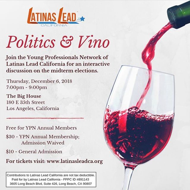 """#LA! Support yo girls first #professionaldevelopment event! 💅🏼💼👑 we're hosting the first Politics & Vino 🍷 this Thursday 👉🏾 swipe left! . . How do we sustain a movement uplifting communities of color post-election? A #postmidterm #election discussion on  #equity - #barriers to electing latinx + #womenofcolor and how we can #innovate and #buildourowntable that is inclusive of the needs of our #gente ✊🏾✊🏾✊🏾✊🏾 #linkinbio .  It's $10 from 7-9pm at """"The Big House"""" 👉🏾 180 E 35th St, Los Angeles, CA 90011 (a dope community house in south central). Link: bit.ly/PoliticsandVino  Hope you can make it! #communitybuilding #mobilizing #gotv #organize #culturalcapital #socialcapital #financialcapital #networking"""