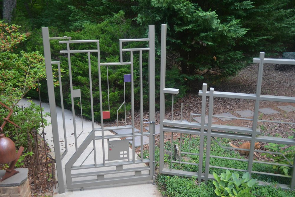 modern gate with deer fencing