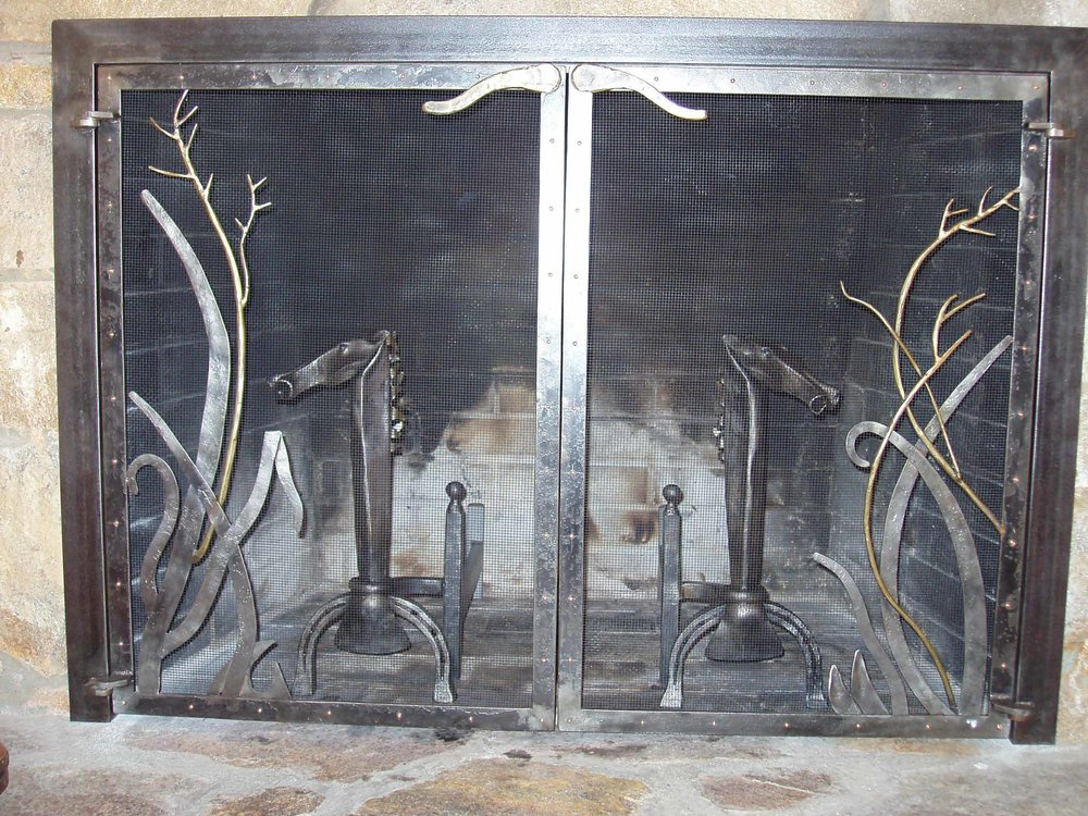 equestrian fireplace set