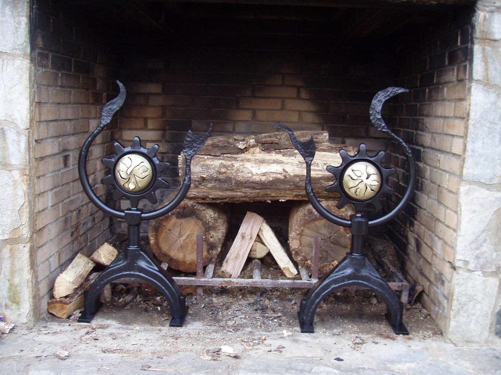 outdoor fireplace andirons