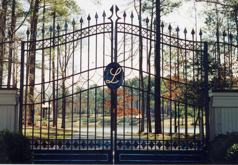 driveway gate with copper accent