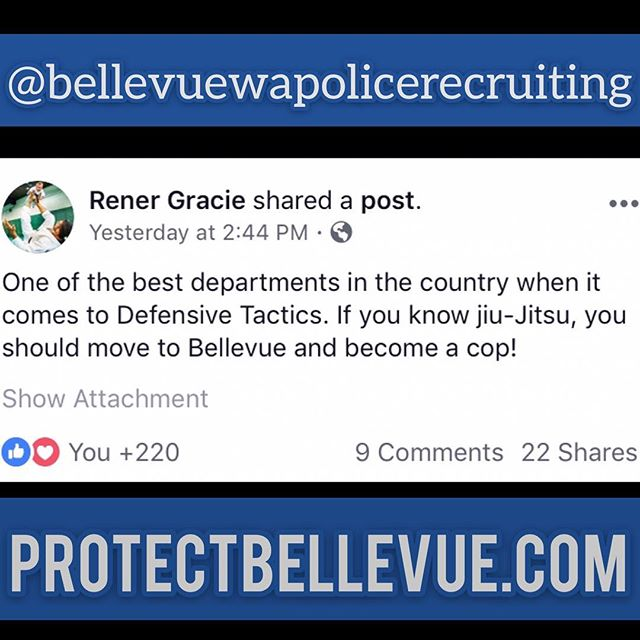 Our school has a very strong connection to #lawenforcement with several students and instructors from various agencies who protect and serve. We also offer a FREE class each week for all LE. Message us for more information.  #Repost @bellevuewapolicerecruiting with @download_repost . . .  We would love to have more #jiujitsu practitioners, #martialartists, #fitness enthusiasts and good people from all walks of life on our team and #wearehiring! Lateral applicants are eligible for a 16k signing bonus! Up to 95.8k in base pay, not counting incentives (an additional 5-17% with a degree + longevity pay). Patrol officers get 4-5 consecutive days off each work cycle and two weekends off per month. Additionally, we will be one of the first department's in the country to equip all patrol officers with @sigsauerinc p320 RX duty pistols that have issued #reddot optics and a mounted flashlight! For more information go to protectbellevue.com or email officer Craig Hanaumi (chanaumi@bellevuewa.gov). If you know someone who you think would make a great cop, tag them in the comments below! Our entry level portal will reopen at the beginning of March! Get ready #bellevue #police #selfdefense #bjj #work #training #community #protectbellevuedotcom🥋🚔🤙🏽