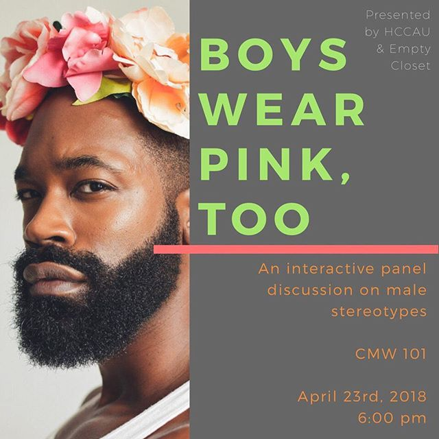 There has always been this masculinity stereotype put upon men whether its fashion, choice of words, or their persona. 🤔 Her Campus CAU & Empty Closet presents : Boys Wear Pink, Too🎀. On April 23rd, please be sure to come out & support an interactive panel discussion on male stereotype❗️#HCCAU #XOHC #HerCampus #EmptyCloset 💖