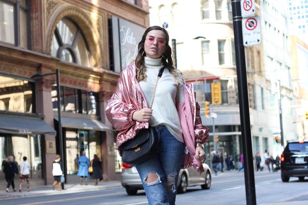6. Rose gold H&M bomber jacket - Toronto street style.JPG
