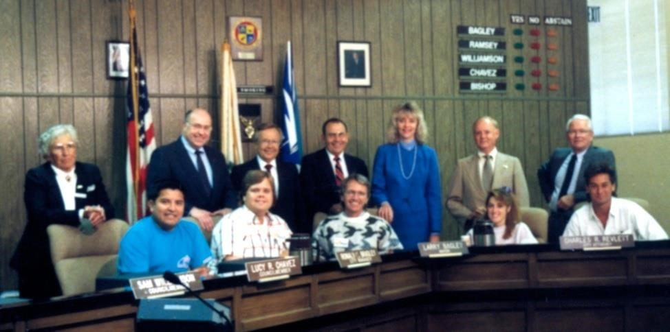 The 1988 Council wished Tom Reeser a happy birthday and posed with the KOCT staff.