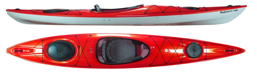 Sojourn 126, 135, 146 and 146 LV:   Hurricanes day touring series.  THE SOJOURN 126 is a day touring kayak for smaller paddlers who like performance in a nifty little package. At 12 feet 6 inches long and only 43 lbs, this sleek little beauty is blast to paddle and a pleasure to carry.  THE SOJOURN 135 is a day touring kayak for the masses that offers high initial stability pared with excellent speed and agility. At 13 feet 5 inches long, this Sojourn is long enough to hold its own against most kayaks you'll encounter on the water and short enough to easily hang on the garage wall.THE SOJOURN 146 and 146 LV are the premier models in the Sojourn series and, at 14 feet 6 inches long, offer excellent speed and tracking in a package that also navigates tight turns with ease.   All sojourns are outfitted with our Airestream seat system and adjustable thigh braces, so these boats are super comfortable too.