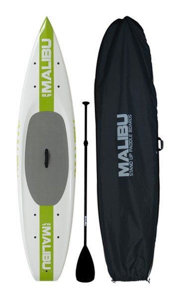 "Malibu Tour:   11'6""  Cut across oceans, lakes, and rivers with the Malibu Tour SUP. The Malibu Tour is based off the Malibu Classic making it a perfect board for beginners. The Malibu Tour is constructed with a displacement hull that easily cuts through the water and offers less resistance when paddling. Designed to handle flat water and chop, the Malibu Tour is the perfect board for paddlers of all ages and skill levels to experience the thrill of SUP. The Malibu Tour Package comes with the board, a board bag, an adjustable aluminum paddle, and a fin."