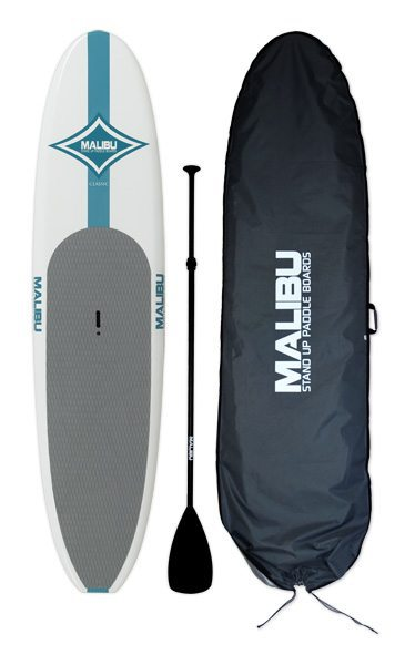 "Malibu Classic:   10'8"" The Malibu EPX Classic SUP is the perfect stand up paddle board for first-time riders looking for a complete package with all the necessary components included: The Malibu package includes the board, a board bag, an adjustable aluminum paddle, and a fin. It comes with a standard single 9 in. fin box that will accept any standard fiberglass fin, and it has a center mounted hanged for easy pick up and carry. The Malibu Classic is ideal for both flat water and chop, providing a stable platform for any first timer to get their bearings on a SUP."