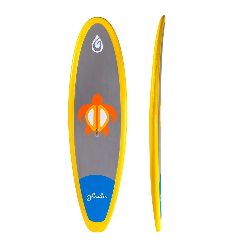"Keiki:   The Keiki is designed for the smallest of paddler to navigate the waterways. Coated in Glide's patent-pending GSS coating, this board ready for any abuse a little paddler can muster. At 8'4"" x 28"" x 18 lbs, the Keiki is a great board for paddlers up to 120 lbs and can be used in surf, flat-water and river play. The Keiki is the most durable SUP on the market and priced to be more affordable than competing boards."