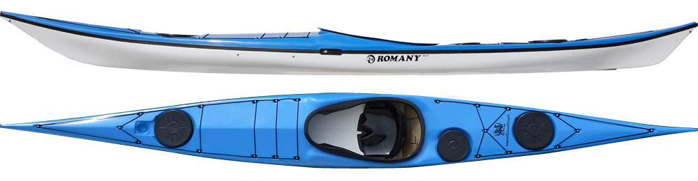 Romany Surf:   A responsive kayak that surfs well for the medium to large sized paddler. The hull design offers high stability and the shaped foredeck allows for large feet up to size 11/12 (Europe 46,5). Designed for rough water and ease of handling in conditions. The kayak has a wider keyhole cockpit than any other British made fibreglass sea kayak and has more volume in the rear compartments than the Romany Classic.   In stock Romany Surf colors.