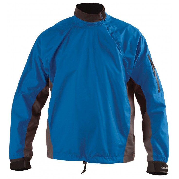 Goretex Paddling jacket:   A featherweight jacket with sealed seams, adjustable splash cuffs and collar and adjustable bungee drawcord waist. This GORE-TEX® jacket, featuring Paclite® technology is a must for any paddling excursion. The zippered sleeve pocket is self-draining and accessible while wearing your life vest. Adjustable coated Lycra® collar helps keep the splash out.