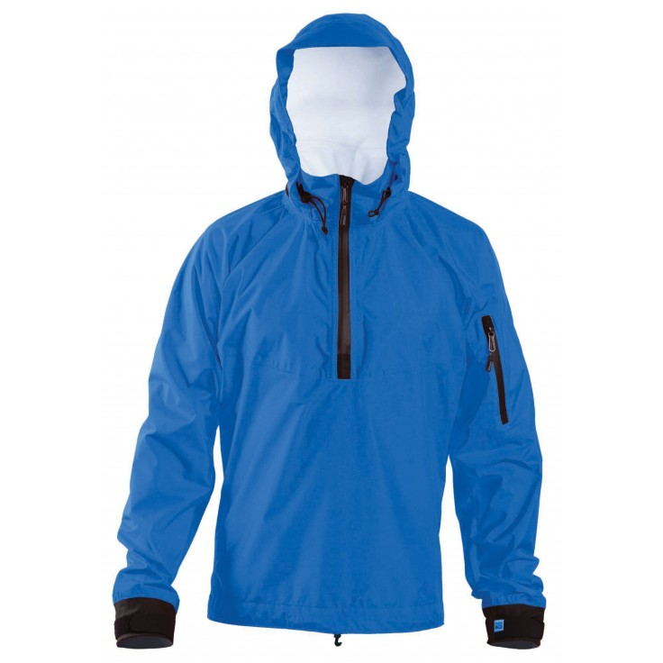 Otter:   The Tropos Otter is a fully seam sealed, quarter zip, lightweight paddling jacket with a stow-able hood made with a combination of Kokatat's Tropos and Tropos Light waterproof breathable fabrics. The jacket has a soft pile lined collar, adjustable coated lycra splash cuffs and bungee draw cord waist. The left sleeve features a zippered, self-draining pocket with key lanyard for stowing small gear.