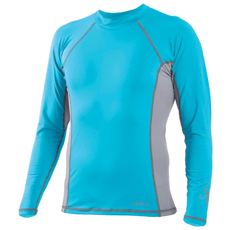 Suncore longsleeve:   Kokatat's SunCore rashguard insulators are a lightweight, high-stretch construction of polyester and spandex that will absorb very little water and dry quickly. Paddling specific patterns for women and flat stitched seams prevent chafing. UPF 30+ sun protection.