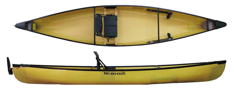 Wenonah Fusion:   The Fusion is a uniquely designed solo blending features of both a canoe and kayak for recreation and fishing. It can be paddled with a double or single blade paddle and its foot controlled rudder makes maneuvering a cinch. The padded high back seat comes standard and allows for hours of comfort.  Lighter, quicker, and more manuverable than any fishing kayak, the Fusion also runs drier and holds more gear while keeping it all readily accessible. Designed for personal accessorization of rod holders and storage trays for a truly customized craft. Rudder is optional.