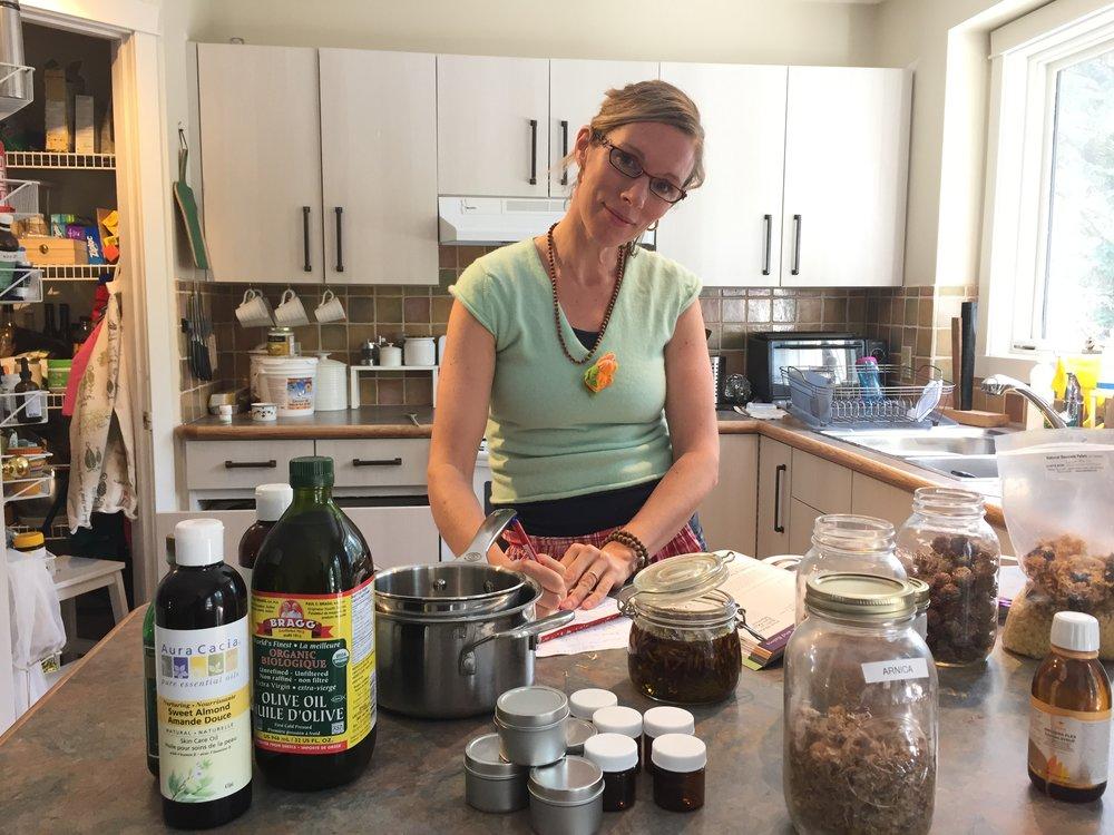 Making herbal medicines in my kitchen