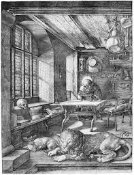 Sariel in his chamber, with his Lion, Kiniun. (painting by Albrecht Durer of St. Jerome in his study)