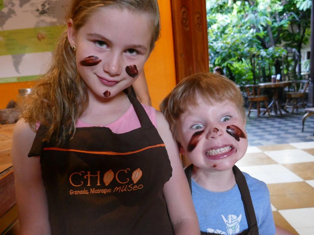 My kids … making chocolate in Granada, Nicaragua
