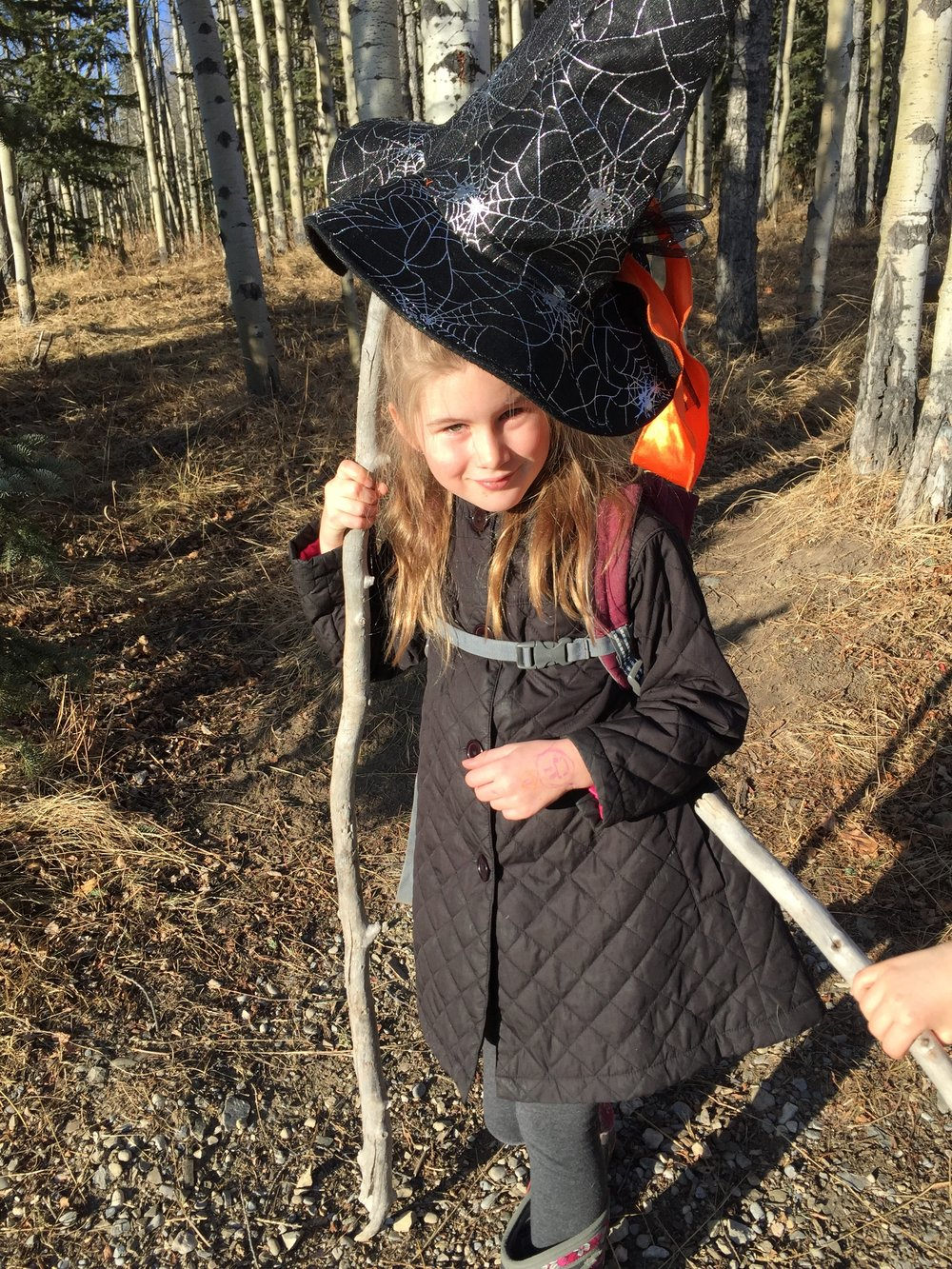 My daughter, Nina, dressed up as a happy witch
